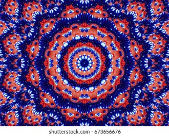 Flower kaleidoscope pattern abstract background. Red blue navy abstract fractal kaleidoscope background. Floral abstract fractal pattern geometrical symmetrical ornament. Flower kaleidoscope pattern