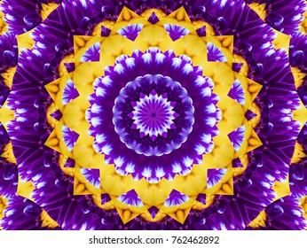 Flower kaleidoscope pattern abstract background. Yellow violet abstract fractal kaleidoscope background. Floral abstract fractal pattern geometrical symmetrical ornament. Flower kaleidoscope pattern