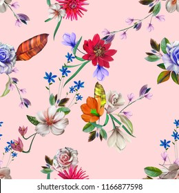 flower leaves seamless hand drawing art design ,digital painting leaves