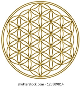 Flower of Life - Gold / Flower of Life / The Flower of life is an ancient symbol of Sacred Geometry and represents the fundamental order of creation.