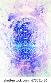 Flower of life on abstract color background. Marble effect.