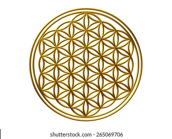 Flower of Life, Ornament in Gold