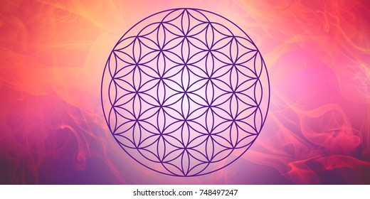 Flower of life with pink nebula background - symbol for spiritual guidance and harmony