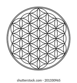 the flower of life sign - black and white