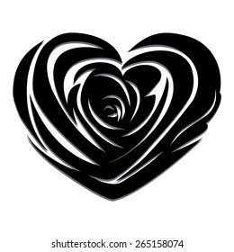 Flower love heart valentine day tattoo. Floral design. Pretty cute illustration. Raster version.