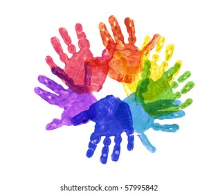 a flower made out of childrens hand prints in rainbow colors