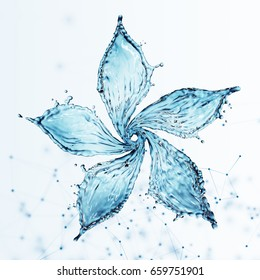 flower made of water splash. 3d rendering