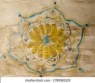 Flower mandala chamomile art therapy