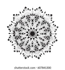 Flower Mandala. Vintage decorative elements. Ornamental round pattern with floral elements for smart modern coloring book for adult, shirt design or tattoo.