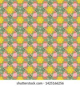 Flower miniprint seamless pattern in beige, green and yellow colors. Stylized hand drawn little flowers.