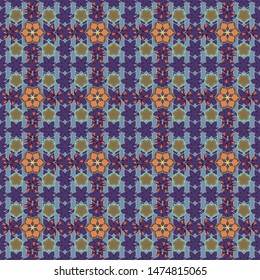Flower miniprint seamless pattern in blue, brown and violet colors. Stylized hand drawn little flowers.