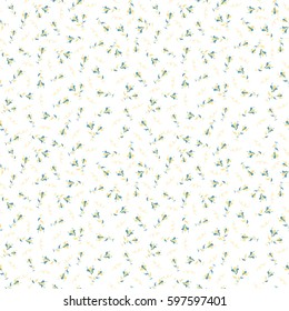 Flower miniprint seamless pattern in blue and yellow colors on a white background. Stylized hand drawn little flowers.