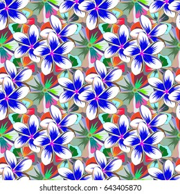 Flower miniprint seamless pattern in blue and green colors. Stylized hand drawn little flowers.
