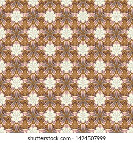 Flower miniprint seamless pattern in gray, beige and brown colors. Stylized hand drawn little flowers.