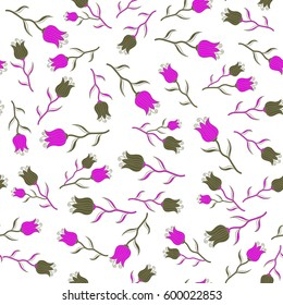 Flower miniprint seamless pattern in green and magenta colors on a white background. Stylized hand drawn little flowers.