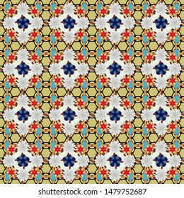 Flower miniprint seamless pattern in red, yellow and blue colors. Stylized hand drawn little flowers.