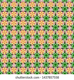 Flower miniprint seamless pattern in white, green and yellow colors. Stylized hand drawn little flowers.