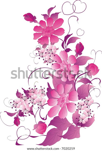 flower ornament in pink color on white background