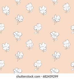 Flower outline isolate on white background. Seamless pattern for baby girl and mom.