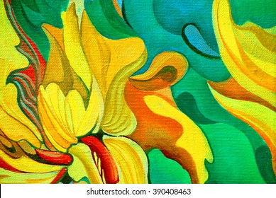 flower painting by oil on canvas, illustration
