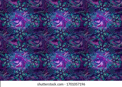 Flower painting raster for t shirt printing. Flowers on violet, black and blue colors. Floral seamless pattern background.