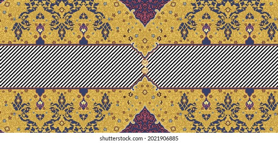 flower patren digital printing and Home decorative walpaper.this is all over fabric pattren vintage motif.Colorful vintage seamless pattern with floral and mandala elements.Hand drawn background. Can