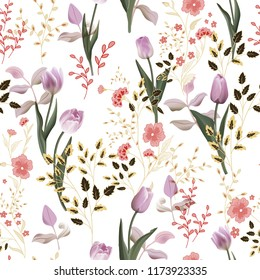 Flower  pattern with assorted plants. Vintage pro-vance style. Seamless lilac