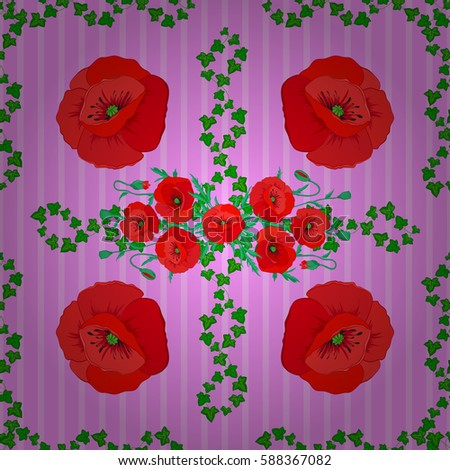 Flower Pattern Multicolored Poppy Flowers Fabric Stock Illustration