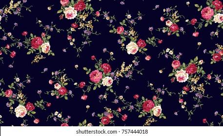 flower pattern navy background