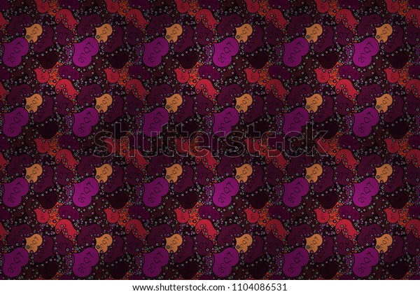 Flower petal in shape of heart confetti. Symbol of love for the label gift packages. Decor element for greeting cards. Seamless Valentines Day background of purple, black and brown hearts.