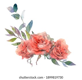 Flower pink rose, green leaves. Watercolor floral clipart. Wedding concept with flowers. Floral poster, invite. Illustration for greeting card or invitation design