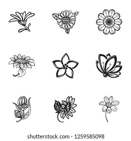 Flower plant icon set. Simple set of 9 flower plant icons for web design isolated on white background