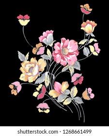 Flower print design With black Background