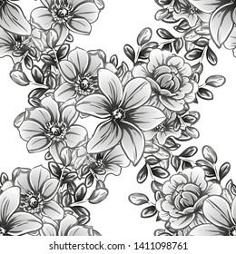 Flower print. Elegance seamless pattern.