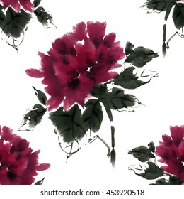 Flower seamless pattern, gorgeous peony on a white background is painted in oriental traditional style, free brush, watercolor, ink.
