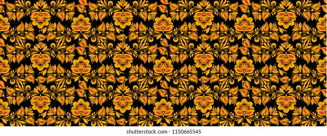 Flower seamless pattern , hohloma painting in classic black, red and gold colors. Khokhloma, Russian national ornament