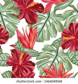 Flower seamless pattern  Pretty flowers home decor, fashion, tropical Vibrant colors, bloom, elegance