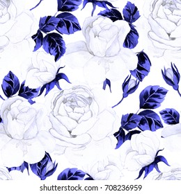 Flower seamless pattern with watercolor roses. Vintage background.