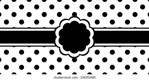 Flower shape frame in black and white, with black ribbon and space for text. It is set against a black and white polka dot pattern background.