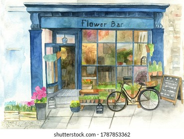 Flower shop facade with colorful houseplant and bike. Watercolor hand painted illustration.