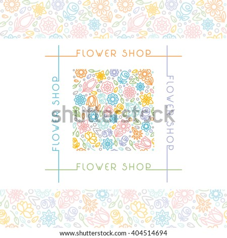 flower shop logo signs trendy linearのイラスト素材 404514694