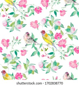 Flower trees and birds watercolor illustration pattern