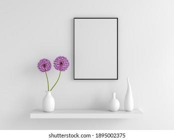 Flower in vase with frame mockup, 3D rendering