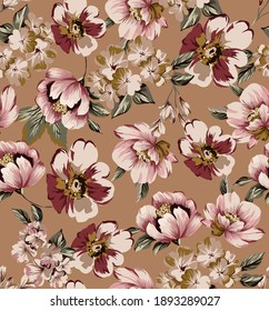 Flower vintage colorful art peony and cherry blossoms branch seamless pattern illustration fabric texture print, with vintage leaves on camel color background.