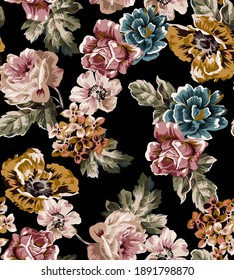 Flower vintage colorful seamless pattern fabric print texture, composed by peony, rose. small bouquet of flowers, floral elements antique on black color background.