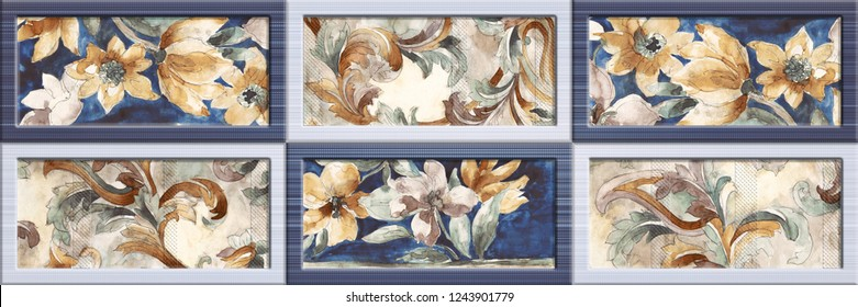 Flower Wall Art Decor, Multicolor Digital Wall Tile Decor For interior Home or Ceramic wall tile Design,  wallpaper, linoleum, textile, web page background.