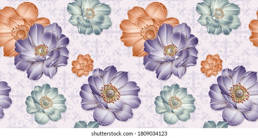 Flower wall Decor, Digital Wall Tile Design, Wall tiles Decor on Marble For Home Decoration, Illustration can be used for wallpaper, linoleum, textile, web page background.