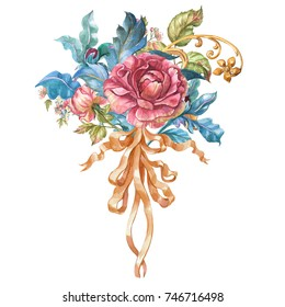 Flower watercolor composition with a bow in the Baroque style.