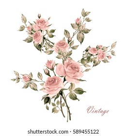 Flower watercolor composition with rose buds and leaves-3