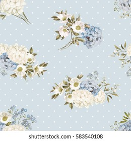 Flower watercolor seamless pattern in blue